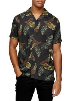 Topman Palm Leaf Short Sleeve Button-Up Camp Shirt
