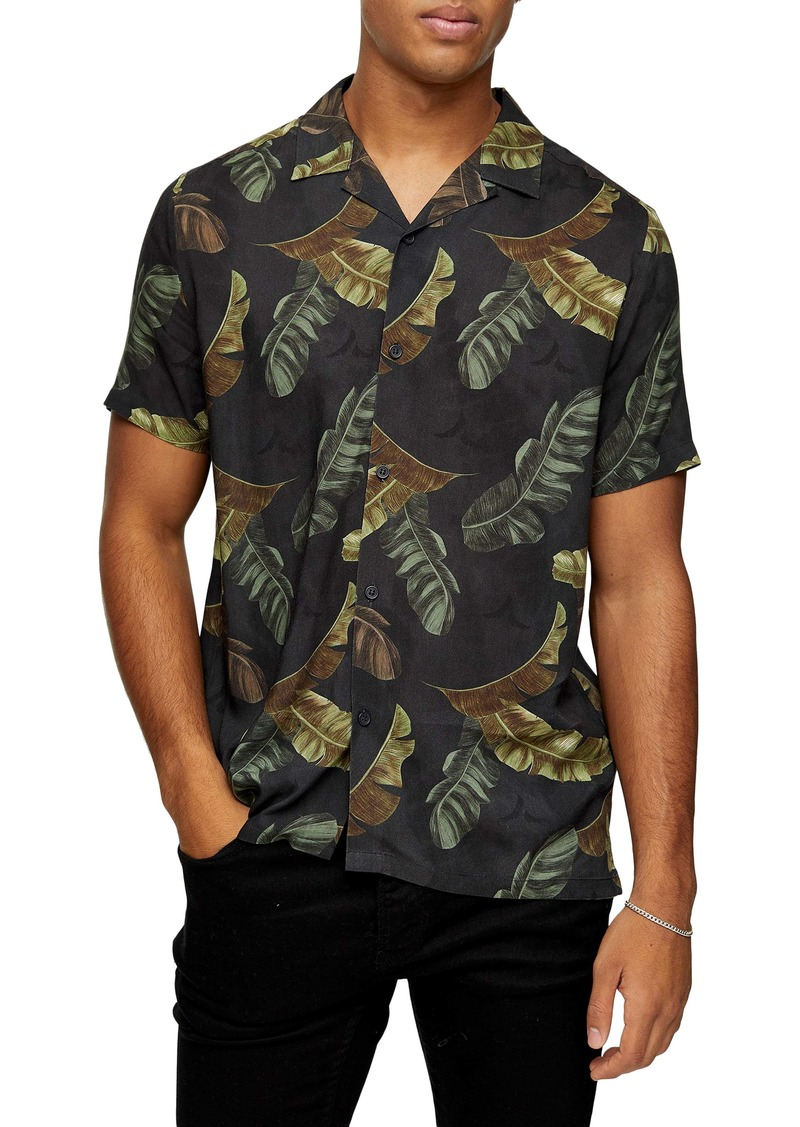 Topman Palm Leaf Short Sleeve Button-Up Camp Shirt
