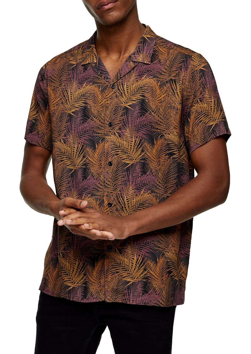 Topman Palm Print Short Sleeve Button-Up Camp Shirt