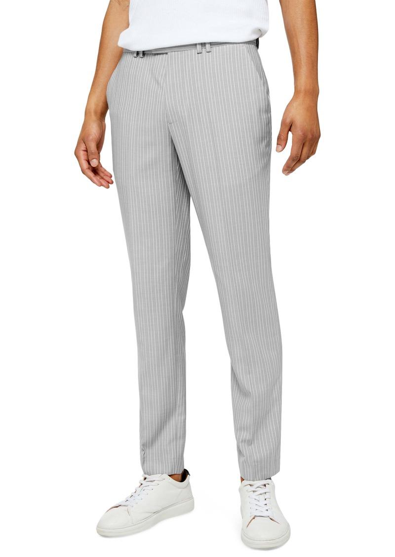 Topman Paly Pinstripe Slim Fit Dress Pants