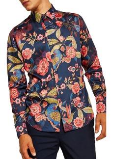 Topman Parrot Floral Sport Shirt