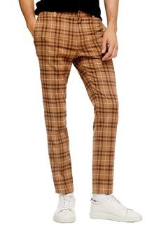 Topman Penny Check Print Slim Dress Pants