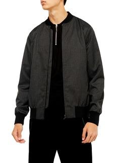 Topman Pinstripe Bomber Jacket