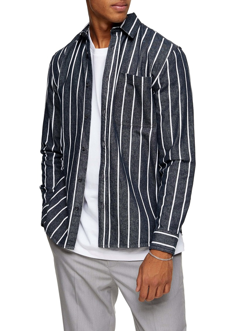 Topman Pinstripe Button-Up Denim Shirt