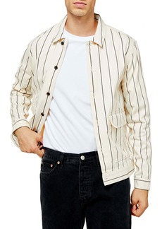 Topman Pinstripe Button-Up Shirt Jacket