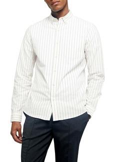 Topman Pinstripe Oversize Button-Down Shirt