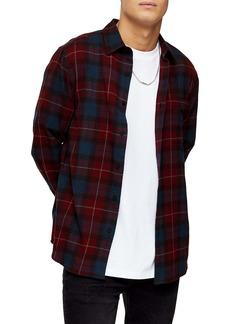 Topman Plaid Button-Up Flannel Shirt