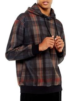 Topman Plaid Flannel Pullover Hoodie