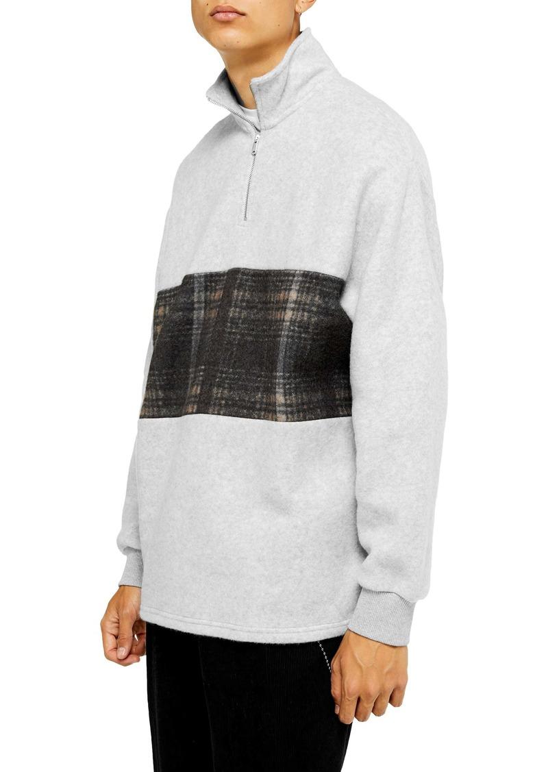 Topman Plaid Panel Quarter Zip Pullover