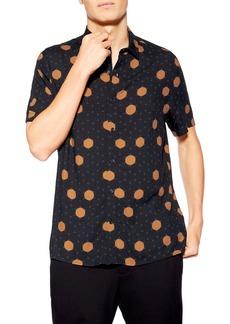 Topman Polka Dot Slim Fit Woven Shirt