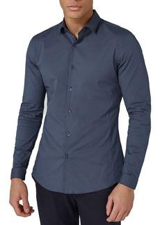 Topman Polka Dot Stretch Smart Shirt