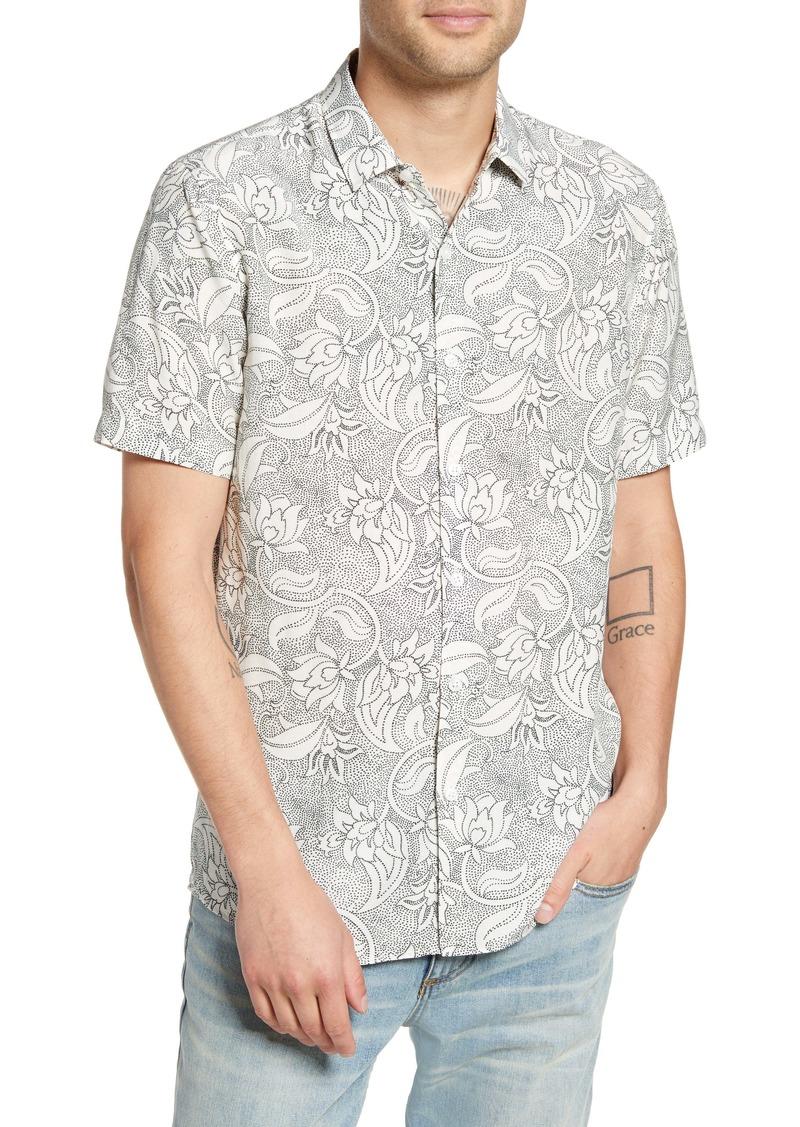 Topman Premium Dot Floral Short Sleeve Button-Up Shirt