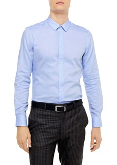 Topman Premium Slim Fit Herringbone Button-Up Shirt