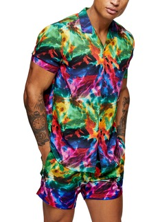 Topman Pride Tie Dye Short Sleeve Button-Up Camp Shirt
