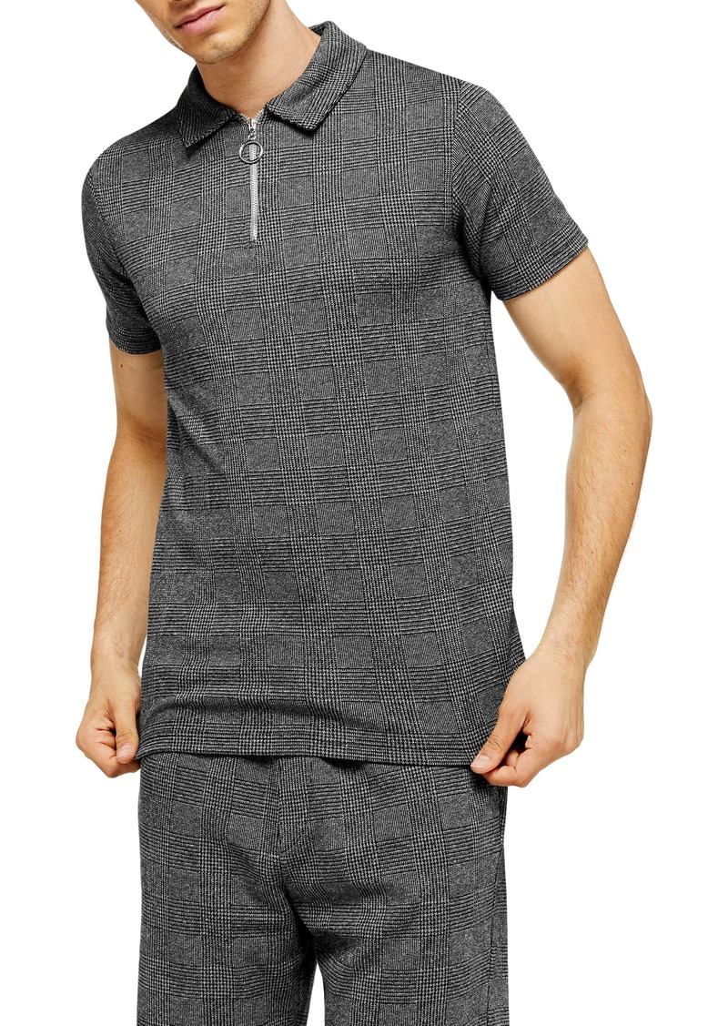 Topman Prince of Wales Check Classic Fit Zip Polo