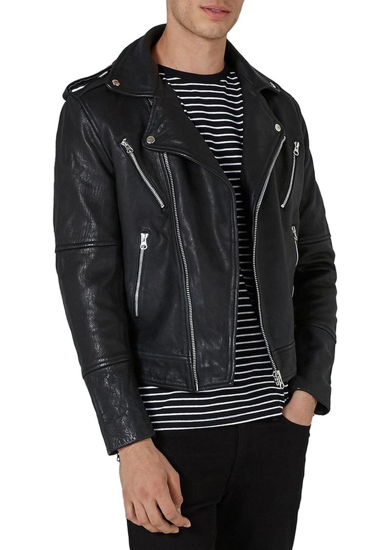 d0893299a Print Leather Biker Jacket