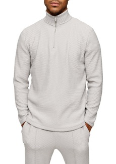 Topman Quarter Zip Herringbone Pullover