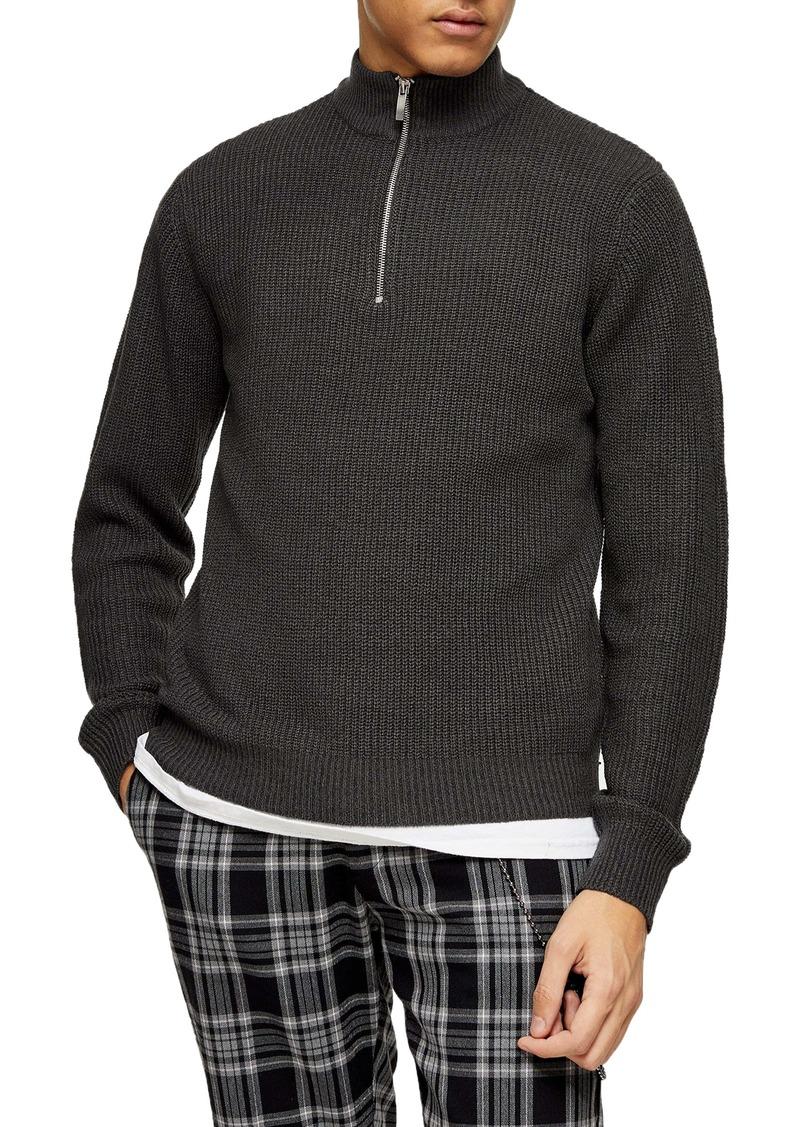 Topman Quarter Zip Mock Neck Sweater