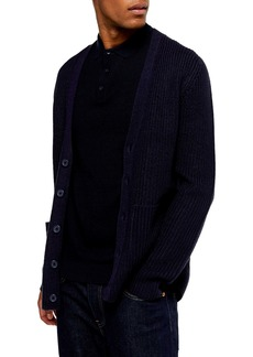 Topman Rack Textured Cardigan Sweater
