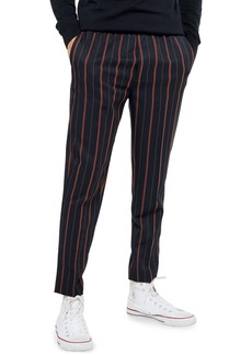Topman Ram Stripe Slim Fit Elastic Waist Pants