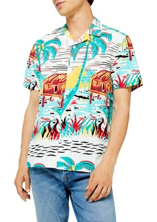 Topman Slim Fit Aloha Print Short Sleeve Button-Up Shirt