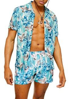 Topman Regular Fit Floral Crane Print Short Sleeve Button-Up Camp Shirt