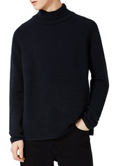 Topman Rib Textured Turtleneck Sweater