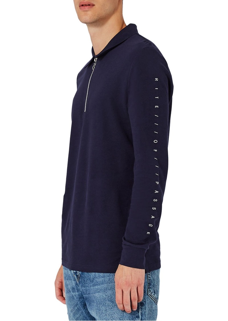 Topman Right of Passage Graphic Long Sleeve Polo