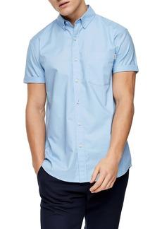 Topman Rigid Regular Fit Short Sleeve Button-Down Shirt