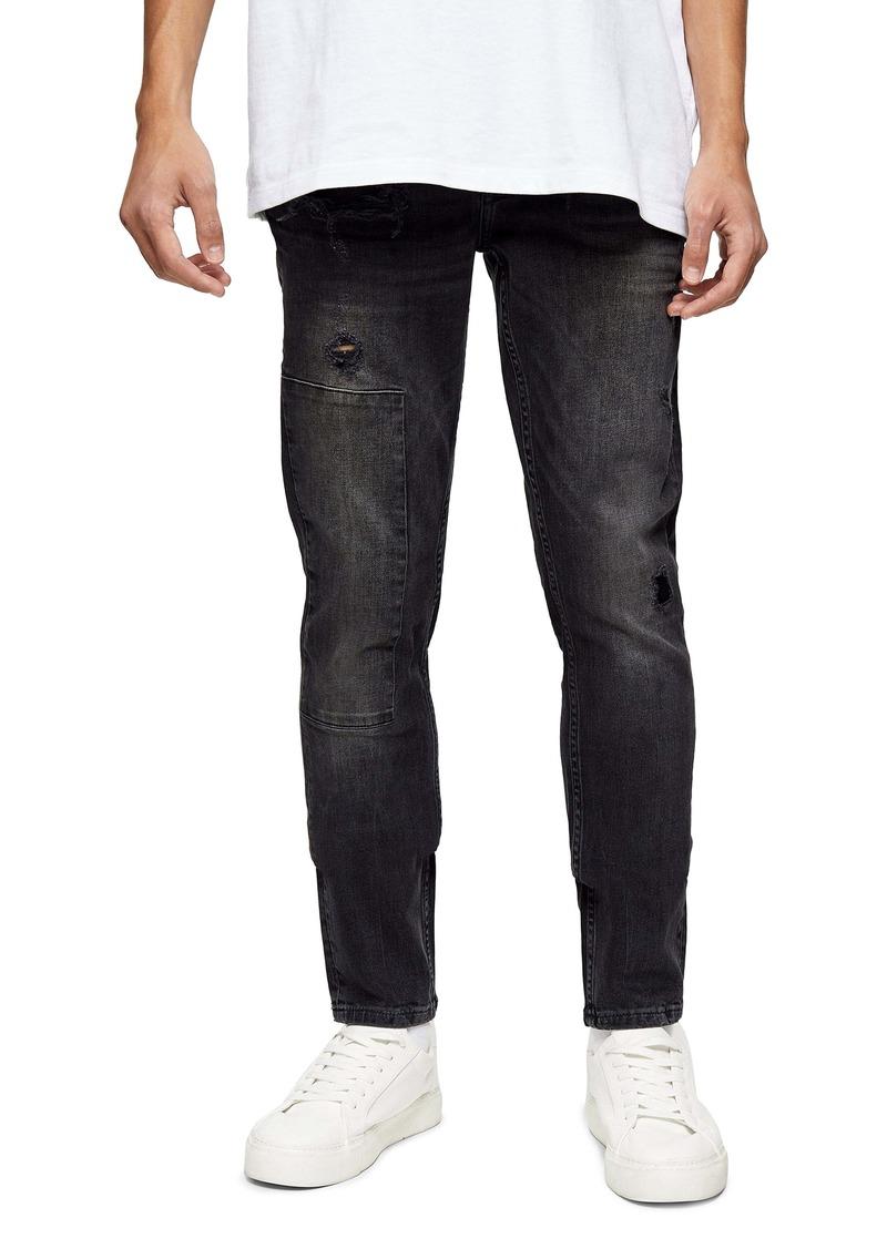 Topman Rip & Repair Skinny Fit Jeans