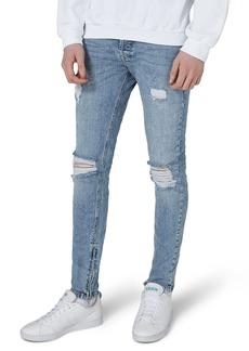 Topman Ripped Acid Wash Skinny Jeans