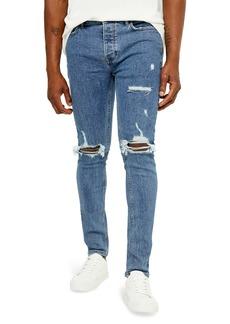 Topman Ripped Skinny Jeans (Blue)