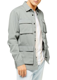 Topman Sage Classic Fit Long Shirt Jacket