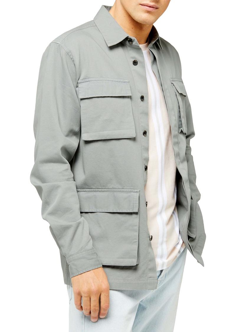 Topman Sage Classic Fit Long Shirt Jacket