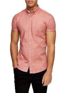 Topman Short Sleeve Button-Down Stretch Oxford Shirt