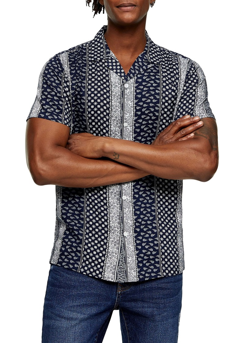 Topman Short Sleeve Button-Up Camp Shirt
