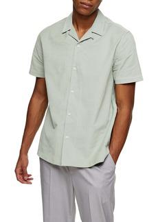 Topman Short Sleeve Button-Up Corduroy Camp Shirt