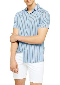 Topman Short Sleeve Stripe Slim Fit Shirt