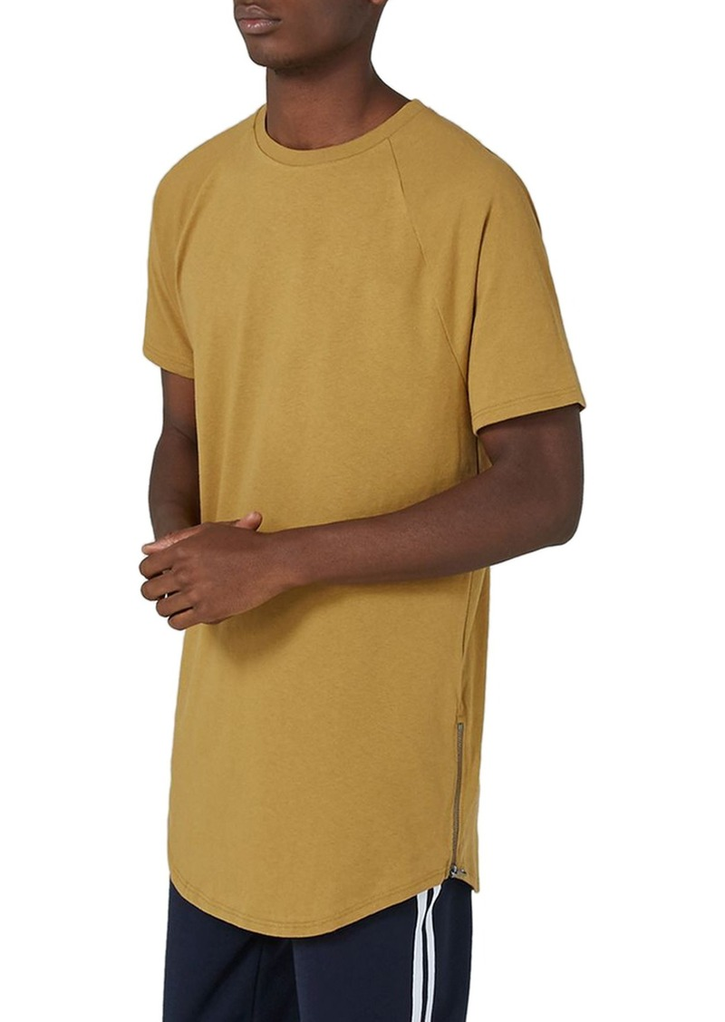 topman topman side zip longline t shirt t shirts shop