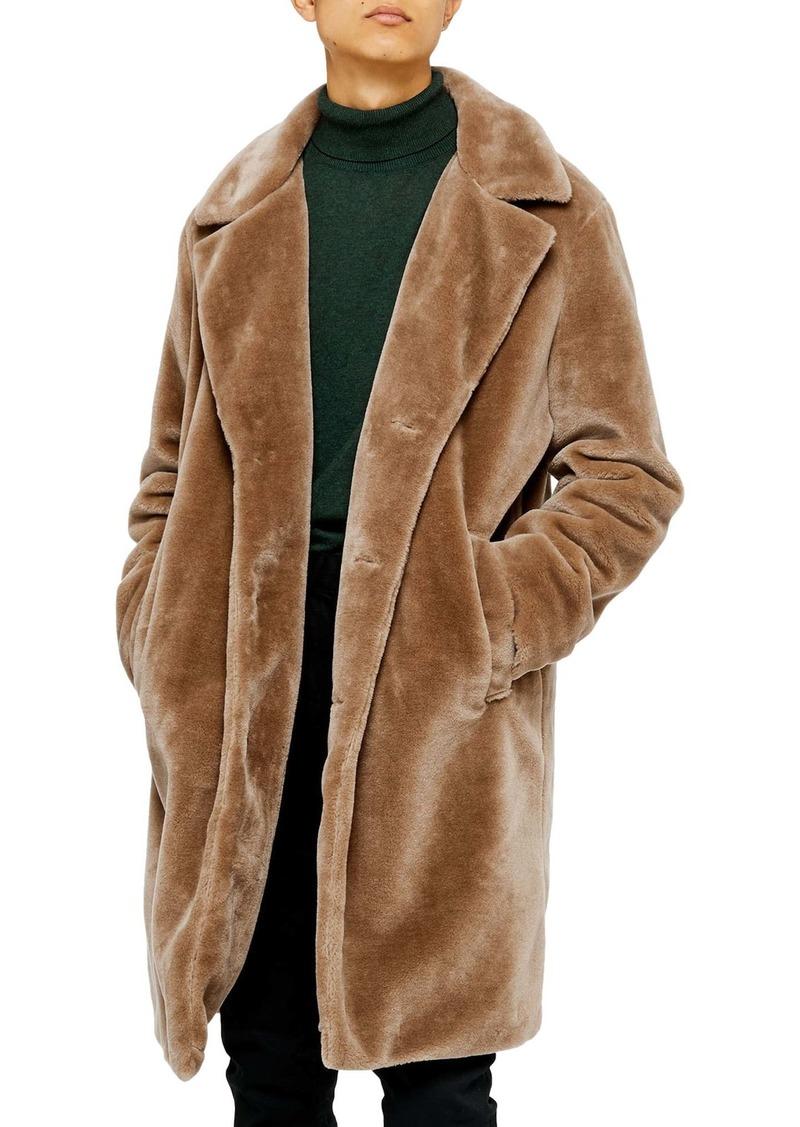 Topman Single Breasted Faux Fur Longline Coat
