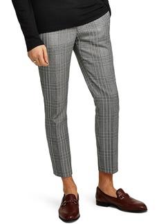 Topman Skinny Fit Check Crop Trousers