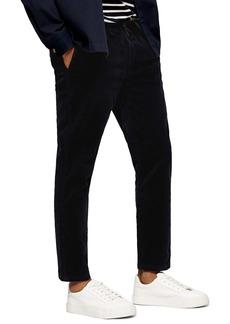Topman Skinny Fit Drawstring Crop Corduroy Pants