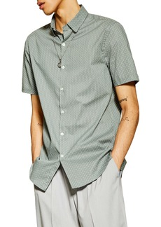 Topman Skinny Fit Geometric Short Sleeve Stretch Cotton Button-Down Shirt