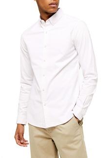 Topman Skinny Fit Pinstripe Button-Down Stretch Oxford Shirt