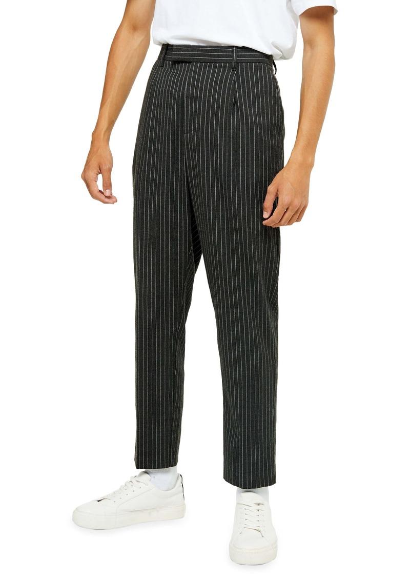 Topman Skinny Fit Pinstripe Crop Pants