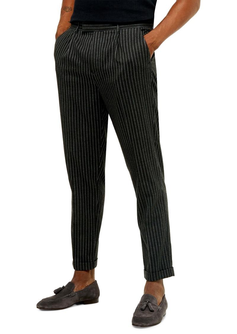 Topman Skinny Fit Pinstripe Cropped Pants