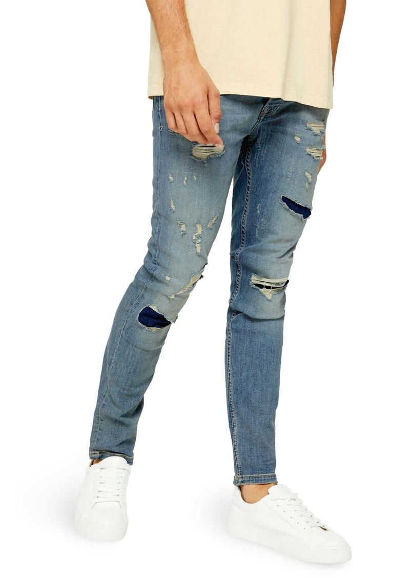 Topman Skinny Fit Rip & Repair Jeans