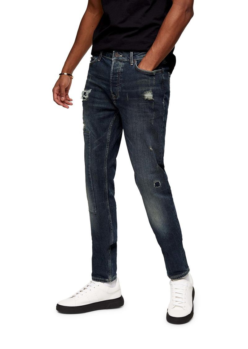 Topman Skinny Fit Rip & Repair Jeans (Dark Blue)