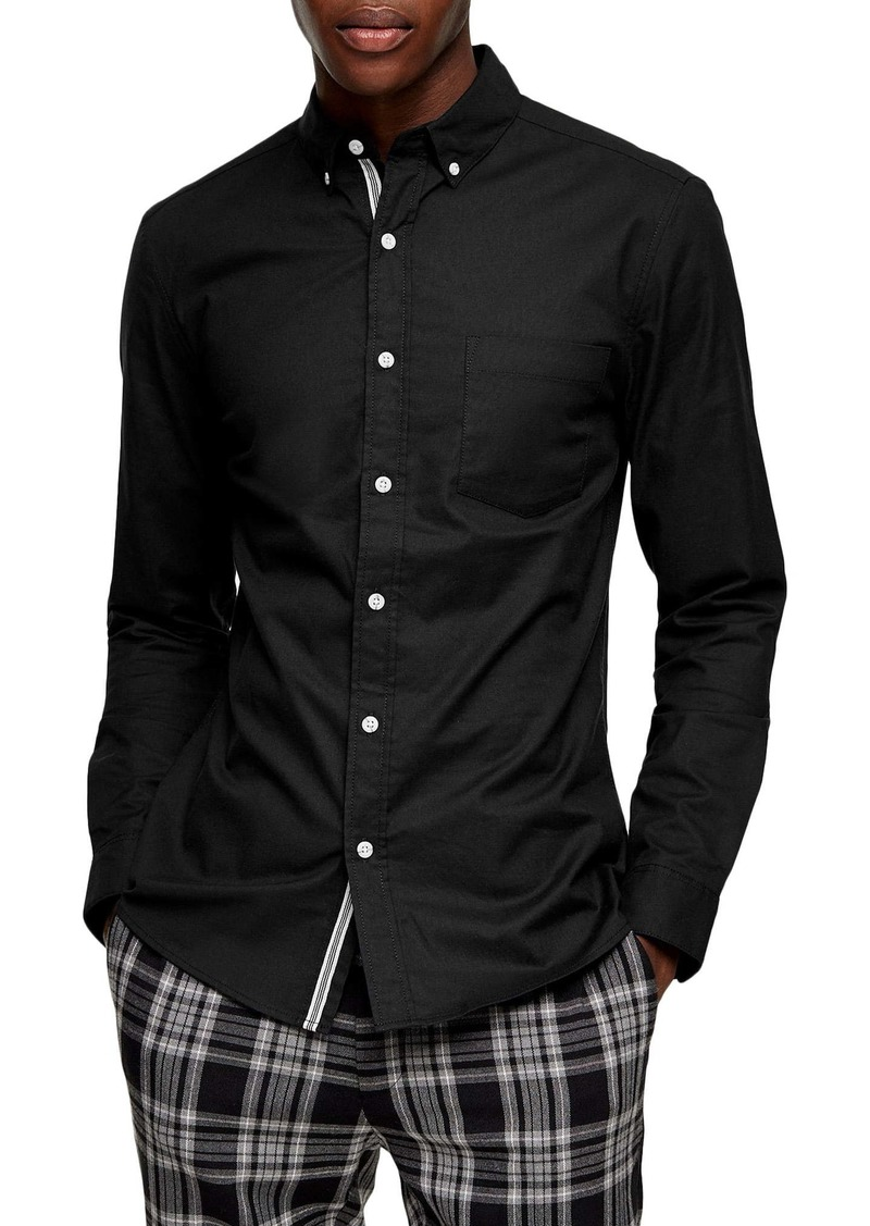 Topman Skinny Fit Stretch Button-Down Oxford Shirt