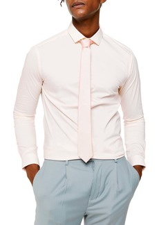 Topman Skinny Fit Stretch Button-Up Shirt